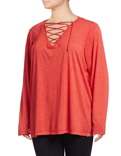 Marc New York Plus Lace-Up Front Long Sleeve Tee-RED-1X