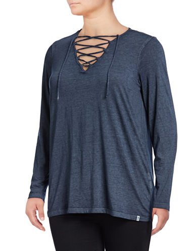 Marc New York Plus Lace-Up Front Long Sleeve Tee-NAVY-1X