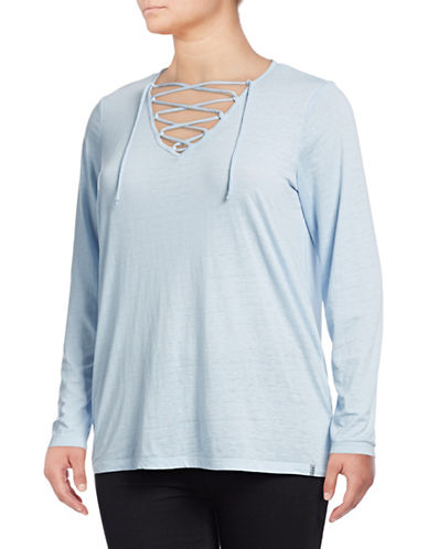 Marc New York Plus Lace-Up Front Long Sleeve Tee-BLUE-3X