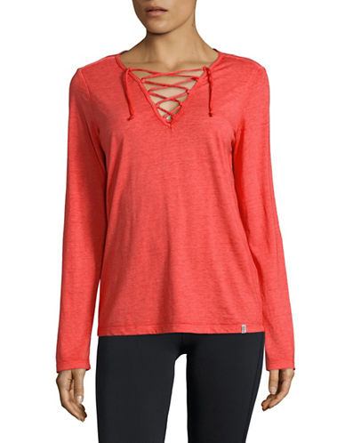 Marc New York Performance Lace-Up Long-Sleeve Tee-RED-X-Large