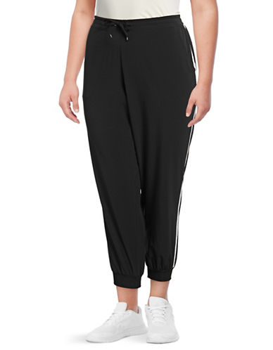 Marc New York Plus Plus Satin Panel Jogger Pants-BLACK-1X