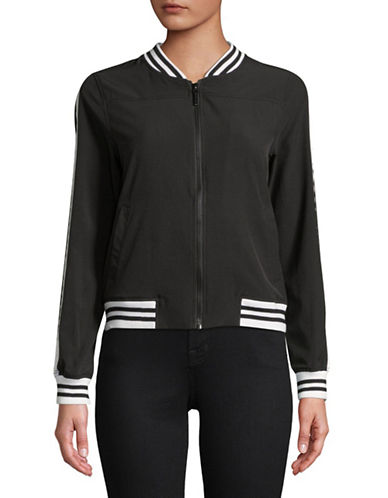 Marc New York Performance Striped Trim Bomber Jacket-BLACK-Small