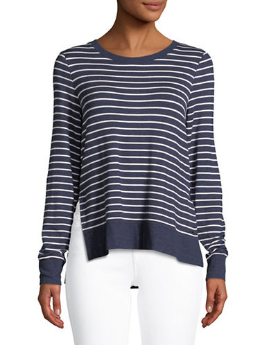 Marc New York Performance Striped Hi-Lo Pullover Top-NAVY-X-Large