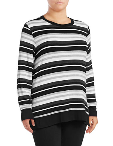 Marc New York Plus Hi-Lo Striped Pullover-BLACK-2X