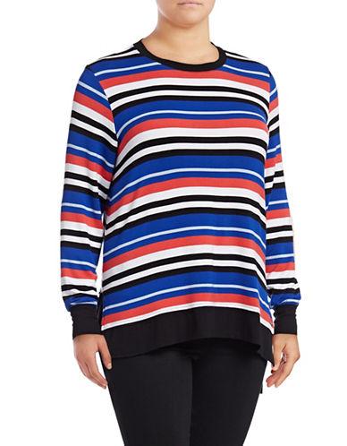 Marc New York Plus Hi-Lo Striped Pullover-MULTI-2X