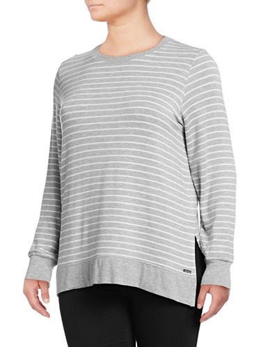 Marc New York Plus High-Low Think-N-Thin Top-GREY-1X