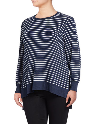 Marc New York Plus High-Low Think-N-Thin Top-BLUE-2X