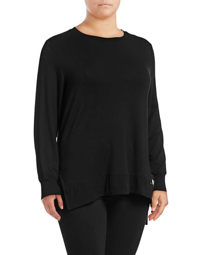 Marc New York Plus High-Low Solid Pullover-BLACK-3X