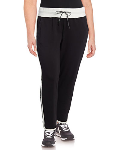 Marc New York Plus Colourblocked Jogger Pants-BLACK-2X