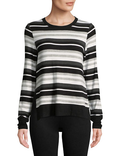 Marc New York Performance Striped Long-Sleeve Hi-Lo Pullover-BLACK-Small 89734727_BLACK_Small