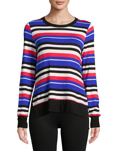 Marc New York Performance Striped Long-Sleeve Hi-Lo Pullover-POPPY-Small