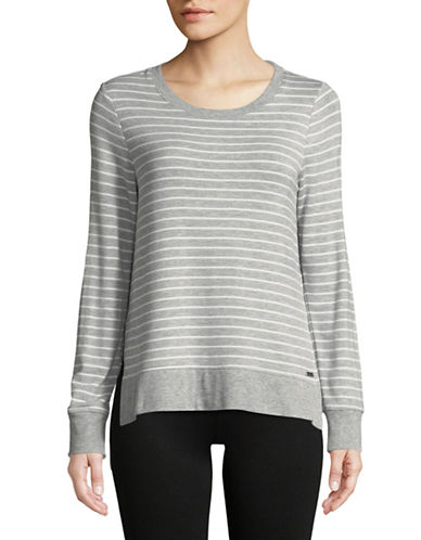 Marc New York Performance Striped Hi-Lo Pullover Top-GREY-Medium