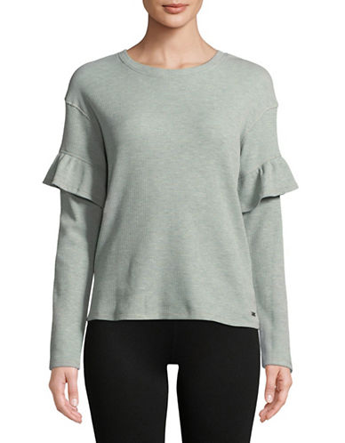Marc New York Performance Ruffle Sleeve Thermal Top-GREEN-Medium