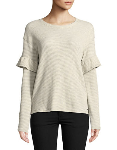 Marc New York Performance Ruffle Sleeve Thermal Top-WHITE-Large