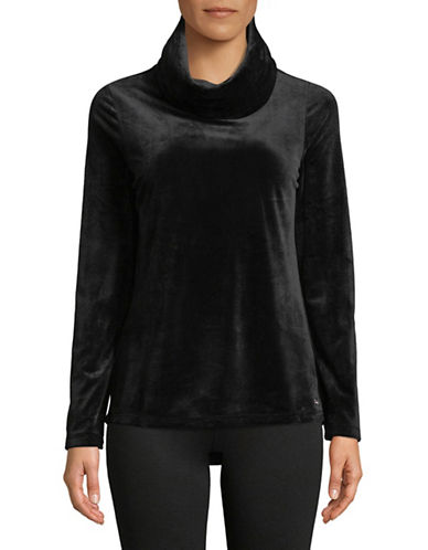 Marc New York Performance Velvet Cowl Neck Tunic-BLACK-Large