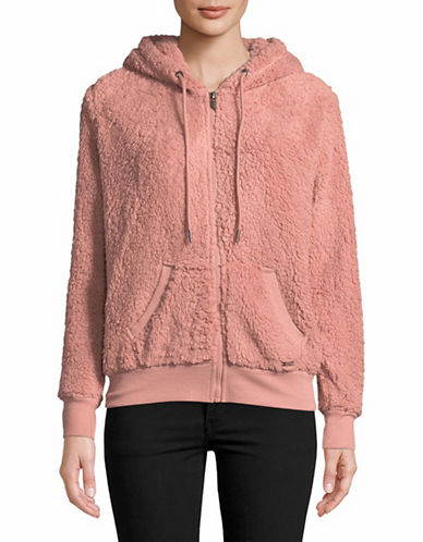 Marc New York Performance Teddy Fleece Zip Up Hoodie-PINK-Large