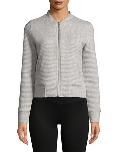 Marc New York Performance Ribbed Bomber Jacket-GREY-Large