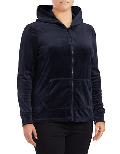 Marc New York Plus Velvet Hooded Jacket-STORMY NIGHT-1X