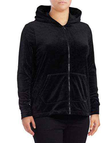 Marc New York Plus Velvet Hooded Jacket-BLACK-1X
