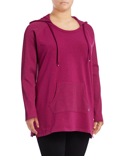 Marc New York Plus Waffle Knit Hoodie-PURPLE-1X