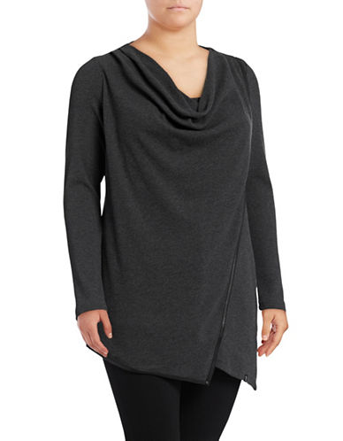 Marc New York Plus Drape Front Tunic-GREY-3X 89532318_GREY_3X