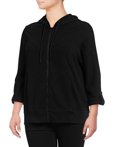 Marc New York Plus Waffle Knit Zip Hoodie-BLACK-1X