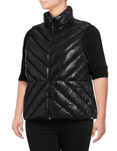 Marc New York Plus Packable Chevron Puffer Vest-GLOSSY BLACK-3X