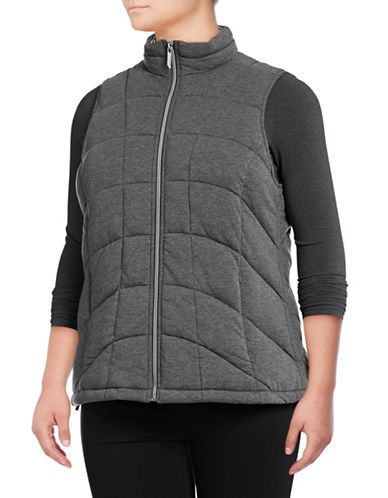 Marc New York Plus Knit Packable Vest-GREY-2X