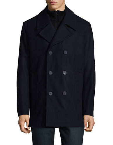 Marc New York Wool-Blend Peacoat with Ribbed Gilet-BLUE-Large