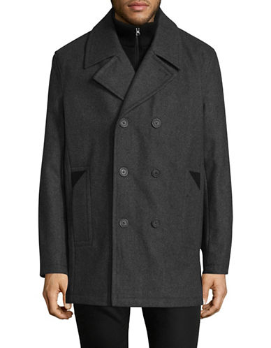 Marc New York Wool-Blend Peacoat with Ribbed Gilet-GREY-Large