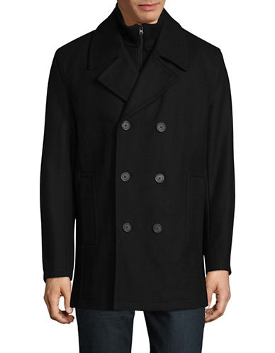 Marc New York Wool-Blend Peacoat with Ribbed Gilet-BLACK-Medium