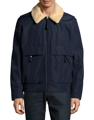 Marc New York Aviator Faux Fur Collar Bomber Jacket-BLUE-Small