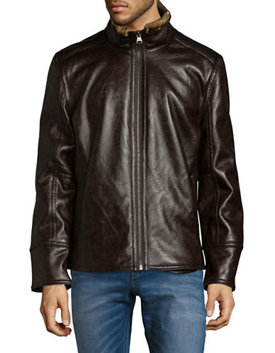 Marc New York Faux Leather Jacket-DARK BROWN-X-Large