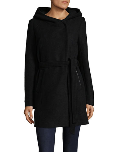 Marc New York Wool-Blend Boucle Hooded Jacket with Belt-BLACK-14