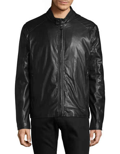 Marc New York Faux Leather Moto Jacket-BLACK-Medium