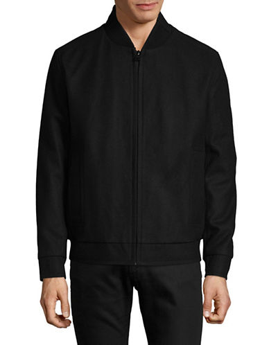 Marc New York Zip-Up Bomber Jacket-BLACK-Medium