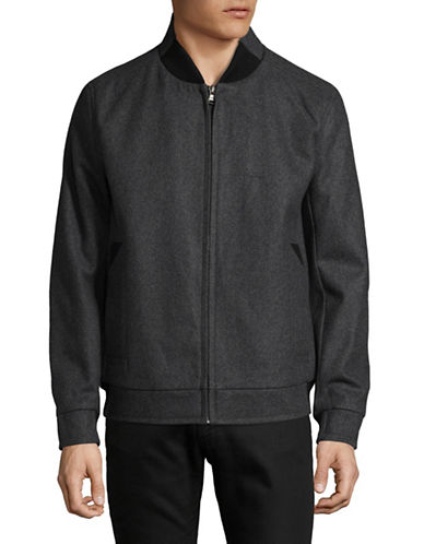 Marc New York Zip-Up Bomber Jacket-CHARCOAL-Small