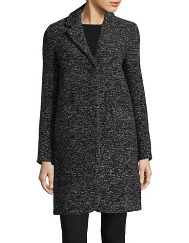 Marc New York Woven Reefer Coat-BLACK/WHITE-2