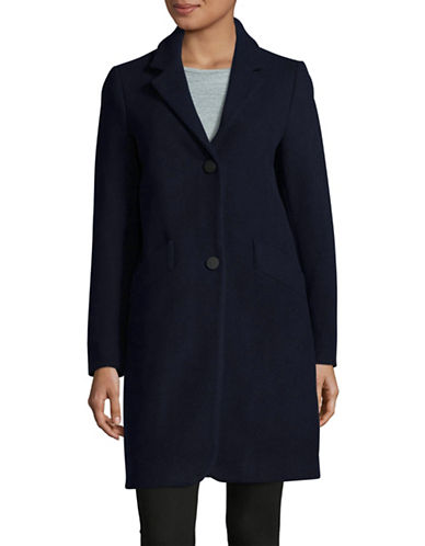 Marc New York Solid Woven Reefer Coat-NAVY-14