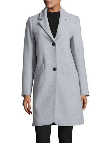 Marc New York Solid Woven Reefer Coat-GREY-6