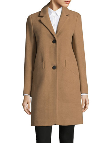 Marc New York Solid Woven Reefer Coat-CAMEL-8