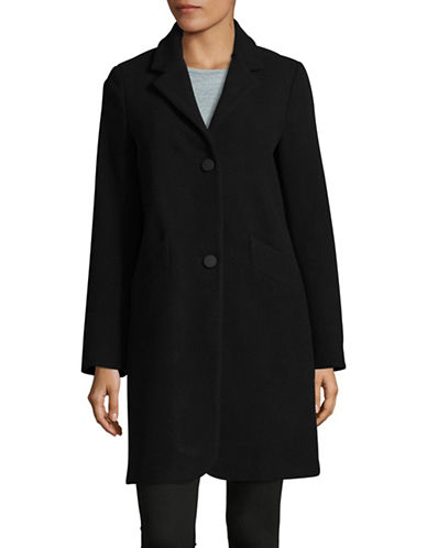 Marc New York Solid Woven Reefer Coat-BLACK-2