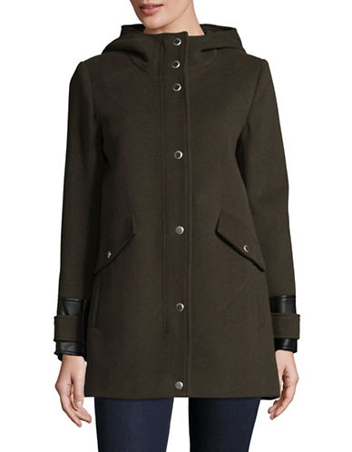 Marc New York Plush Wool-Blend Jacket with Hood-OLIVE-14