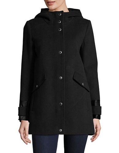 Marc New York Plush Wool-Blend Jacket with Hood-BLACK-6
