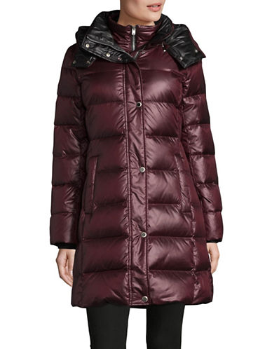 Marc New York Quilted Hood Parka-BURGUNDY-Large