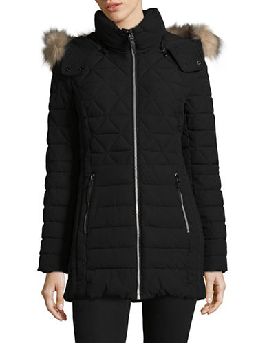 Marc New York Faux Fur Hooded Quilted Coat-BLACK-Large