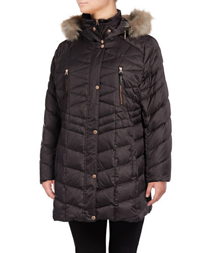 Marc New York Faux Fur Down Puffer Jacket-GUNMETAL-1X