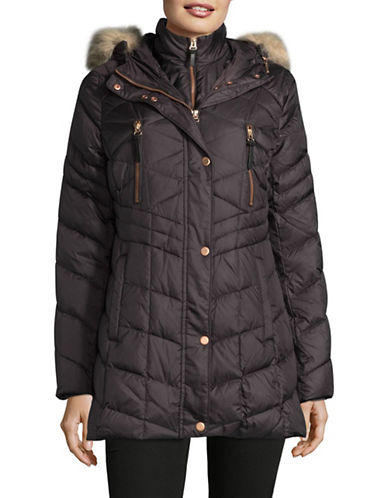 Marc New York Quilted Gilet Coat with Faux Fur Hood-GUNMETAL-X-Large