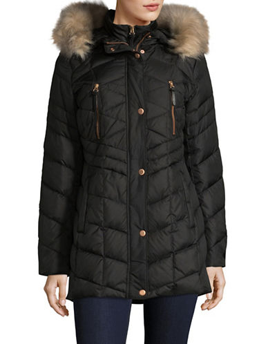 Marc New York Quilted Gilet Coat with Faux Fur Hood-BLACK-Large