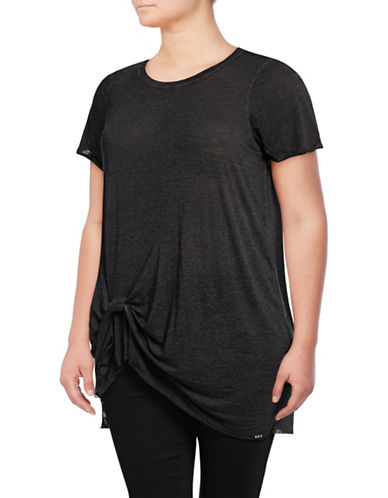 Marc New York Plus Knot-Front Tee-BLACK-3X